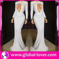 Hot style white long sleeve bodycon elegant dubai online shopping evening dresses