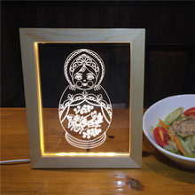 High quality acrylic material stand back type picture photo frame led light frame