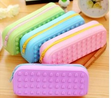plastic silicone heart shape building blocks school pencil case for kids