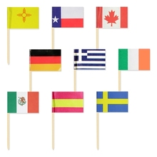 Party Supplier Factory Direct USA Cake Flags, Flag Birch Wood Toothpick