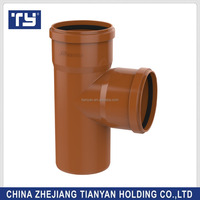 brown colour Saudi Arabia best sell plastic PVC UPVC flaring drainage Rubber pipe clamp 110mm socket tee Joints