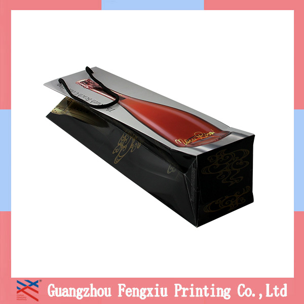 2015 Custom Printed Counter gloss lamination elegent wine paper bag with matt lamination