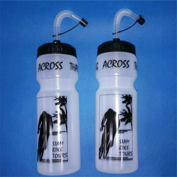 novel plastic sports water bottle with long straw