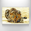 Floater Photo Framed Leopard Canvas Wall Art Abstract Leopard Print on the Canvas Attractive Leopard Picture Easy Hanging On