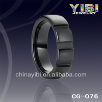 6mm fashion jewelry three grooves black ceramic parts