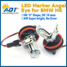 2016 Hot selling DC14V max H8 6W V shape No error code LED Angel Eyes car accessory for bmw h8