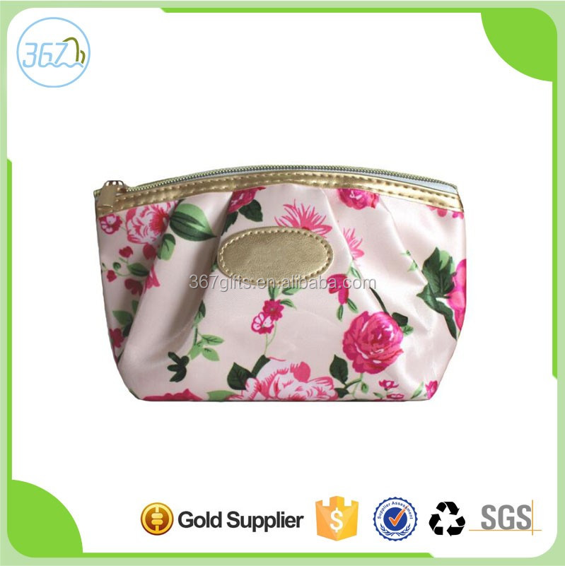 high quality fashion design satin material colourful women cosmetic bag