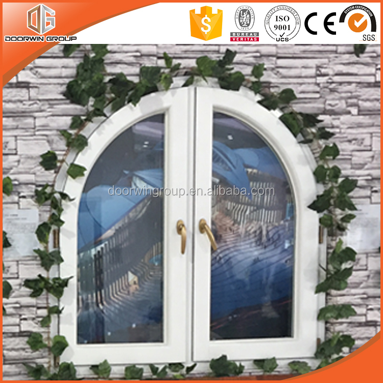 New design round-top aluminum clad solid oak wooden grille casement window
