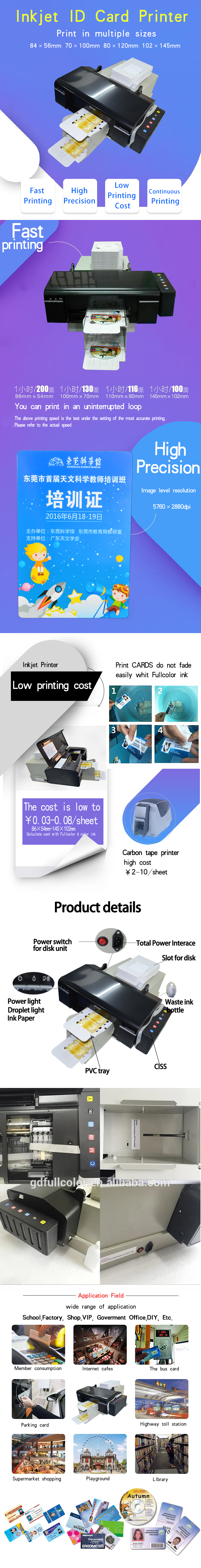 Continue 100 PCS ID Card Printing Machine L805 Inkjet PVC Card Printer