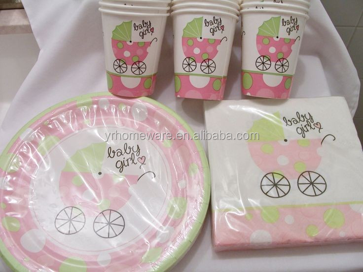 Girl Baby Shower Party Supplies Party Set Hanging Swirl Dinnerware Set