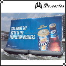 0.9mm PVC OEM inflatable water advertising screen/inflatable water floating billboard for events