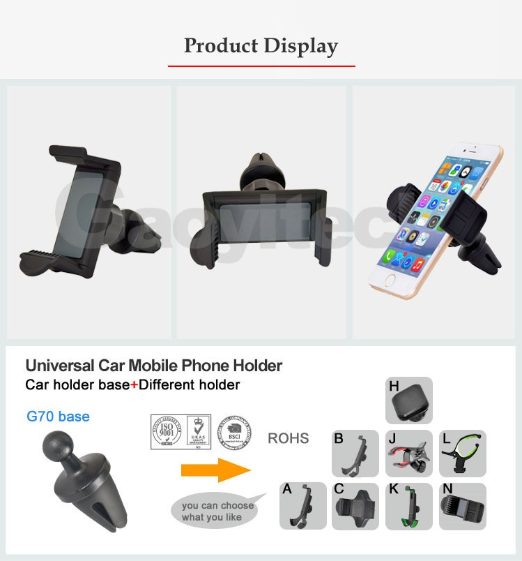 Hot sal china factory car mount air vent holder car smartphone accessories