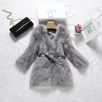 European new women's luxury genuine fox fur coat with leather waistband and real animal fur long coat for winter