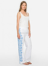 Women mexican pattern boho beautiful easy floral embroidery running up side crisp linen pants