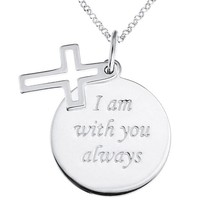 Faith Message Disc Pendant with Open Cross Charm