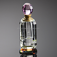 custom made women crystal perfume crystal empty glass bottle glass with pink cap MH-XS0045