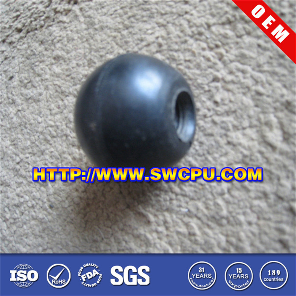 Solid black dimple rubber ball
