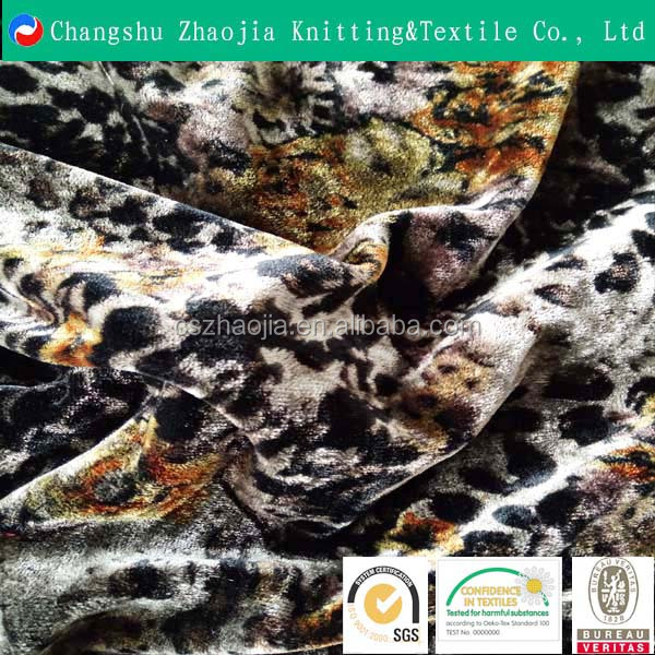 China high-quality textile supplier Wholesale fashion young lady stretch print polyester velour fabric for cloth