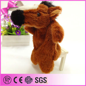 best gift good quality pv plush hand puppet happy horse plush toys