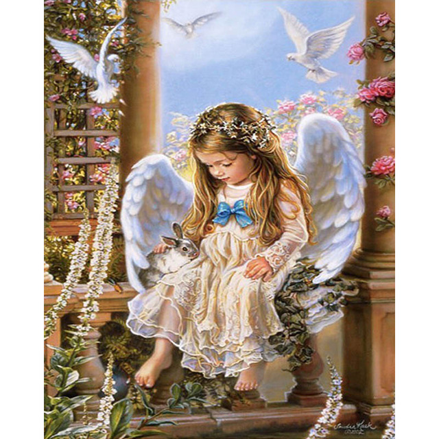 DIY Fairy Angel Digital Oil Painting By Numbers With Frame Home Decor Wall Art Pictures For Living Room Coloring Paint By Number