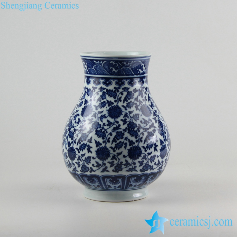 RZFU08-C72-26 Blue and white floral mark round belly ceramic wide open top vase
