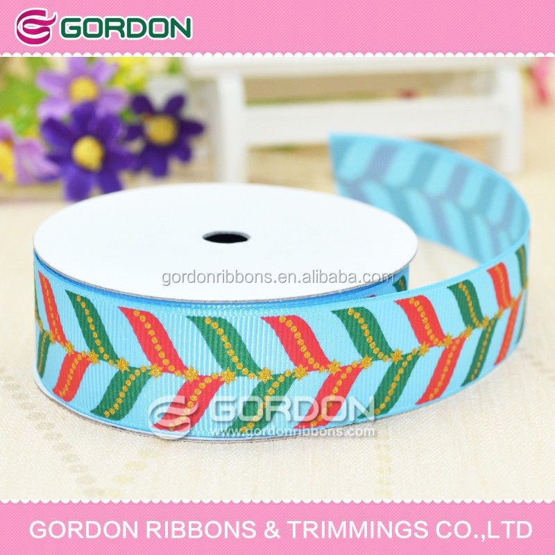 100% Polyester Grosgrain Printed Ribbon,Maple Leaf Printed Ribbon