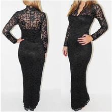 2017 long sleeve evening dress for women Wholesale ladies dress lace V-neck dress