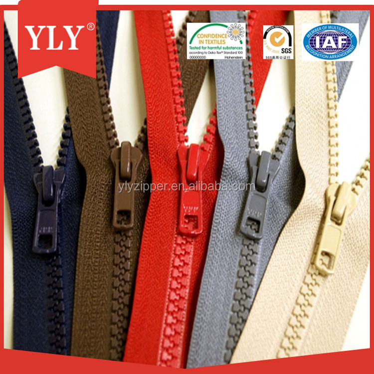 Ideal zipper large plastic zipper with semi auto lock slider