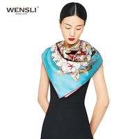 WENSLI Classic Ladies Square Digital Print Custom Design Silk Scarf