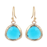 Gold Silver Plated Sea Blue Framed Glass and Kidney Ear Wire Drop Earring Jewelry Wedding Sweet Gift for Women and Girls