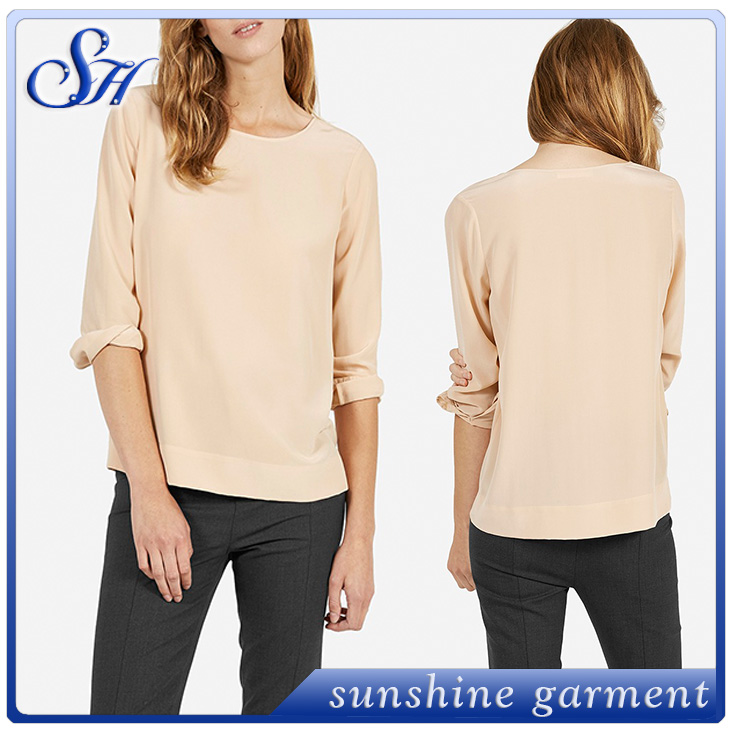 Basic chiffon plain color ladies blouse 3/4 sleeve