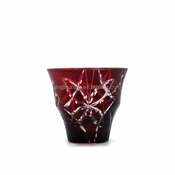 8oz crystal glass drinking cup Edo Kiriko hand cut red and blue cup