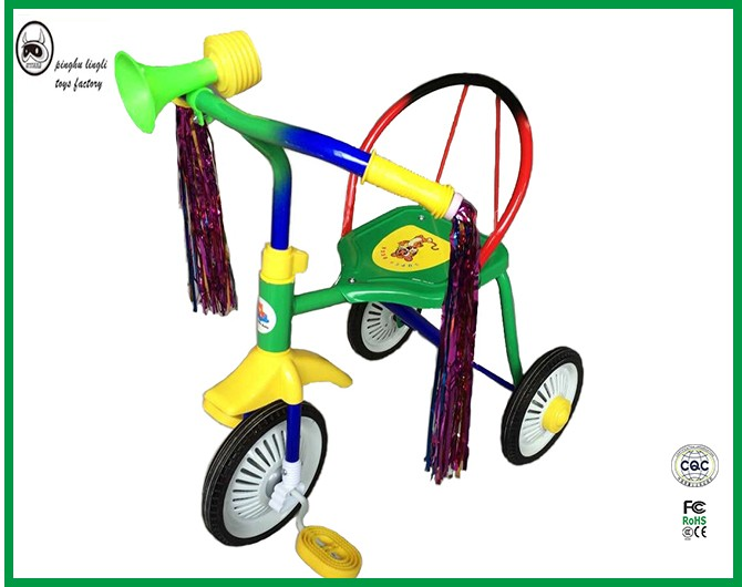 The matreial is matched iron frame and plastic pedal and handle baby old design tricycle