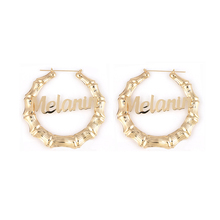 Personalized Letter Melanin 18k Gold 9CM Huge Bamboo Name Hoop <strong>Earrings</strong> Custom Bamboo <strong>Earrings</strong>