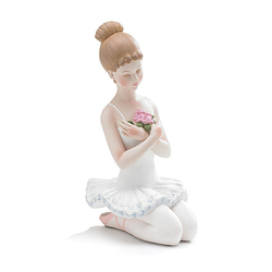 Kneeling Ballerina Dancer Resin Ballet Girl Figurine