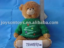 plush bear shaped stuffed animal soft toy with knitted clothes