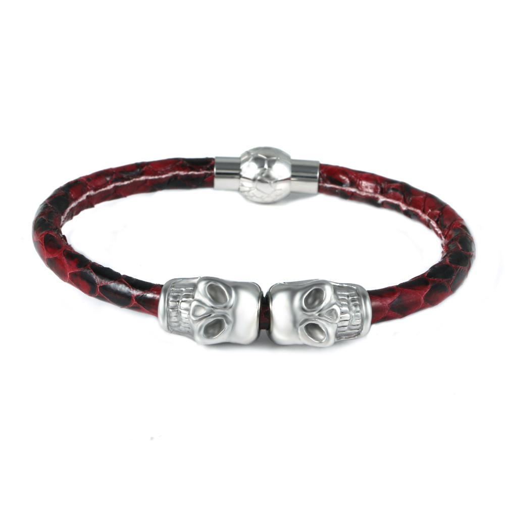 Stainless Steel Skull Rose Red Snake Skin Leather Bracelet Imitation Jewellery