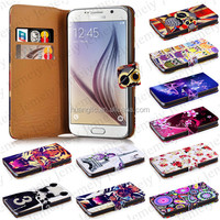 For Samsung Galaxy S6 Printing PU Leather Flip Wallet Case with Built-in Media Stand/ID Credit Card/Inner Pocket Cover Bag