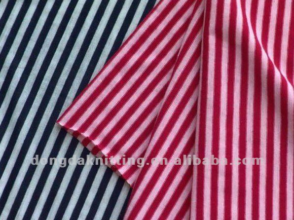 32S 95% cotton 5% lycra striped knitted fabric
