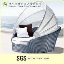 Factory supply Wicker garden rattan round sofa bed outdoor furniture patio sofa cum bed made in china