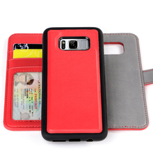 2017 RFID 2 in1 detachable Red pu leather mobile phone case for samsung galaxy s8