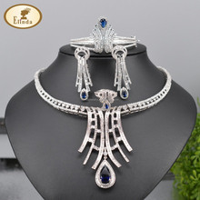 Indian stylish charming big CZ silver jewelry set for party