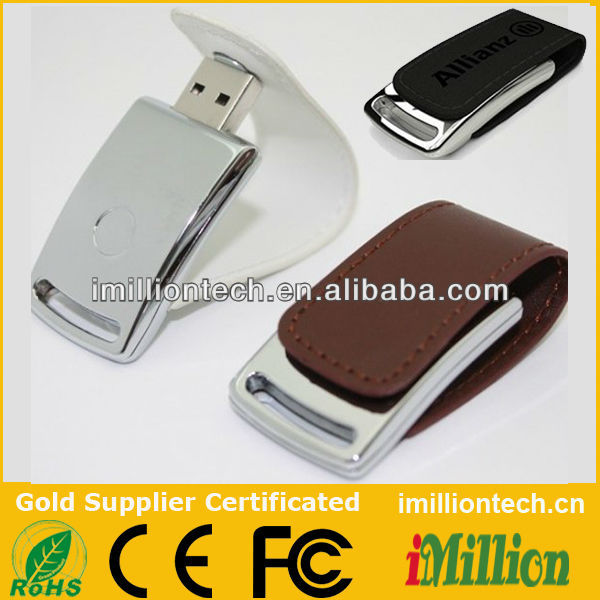 Metal Flip Leather USB Flash Drive with Magnetic Snap Cap SP6077