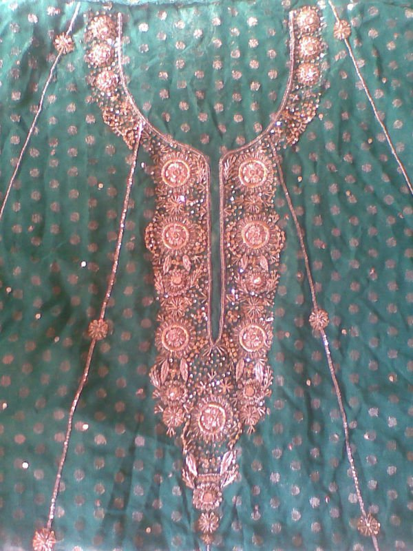 Sea Green Banarsi Chiffon Zardozi hand work