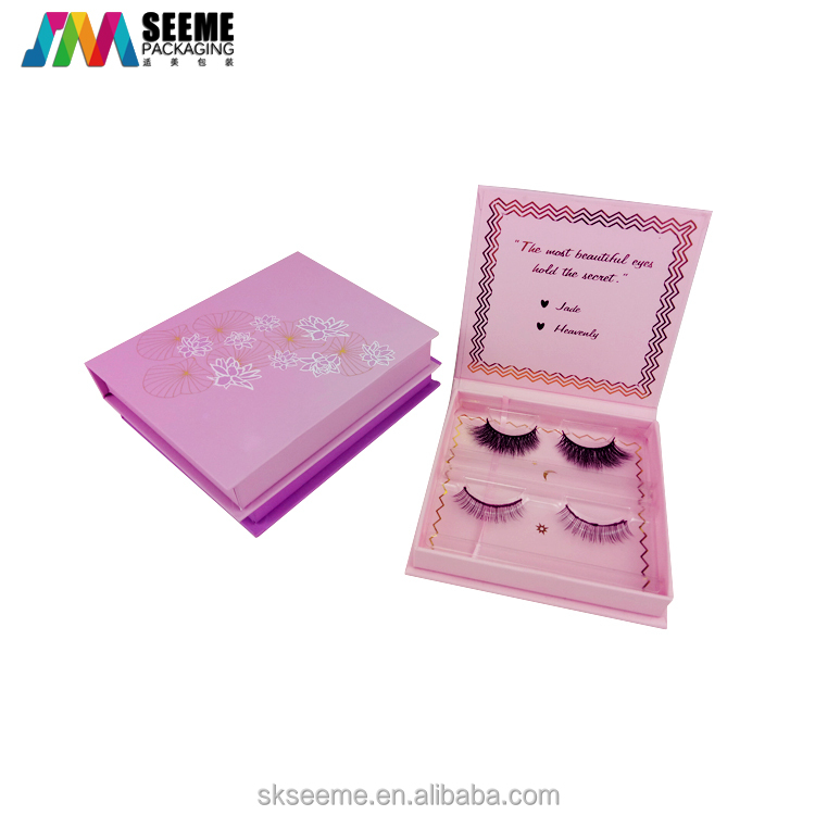 OEM magnetic 3d mink eyelashes box for 2 pairs lash magnetic lashes packaging
