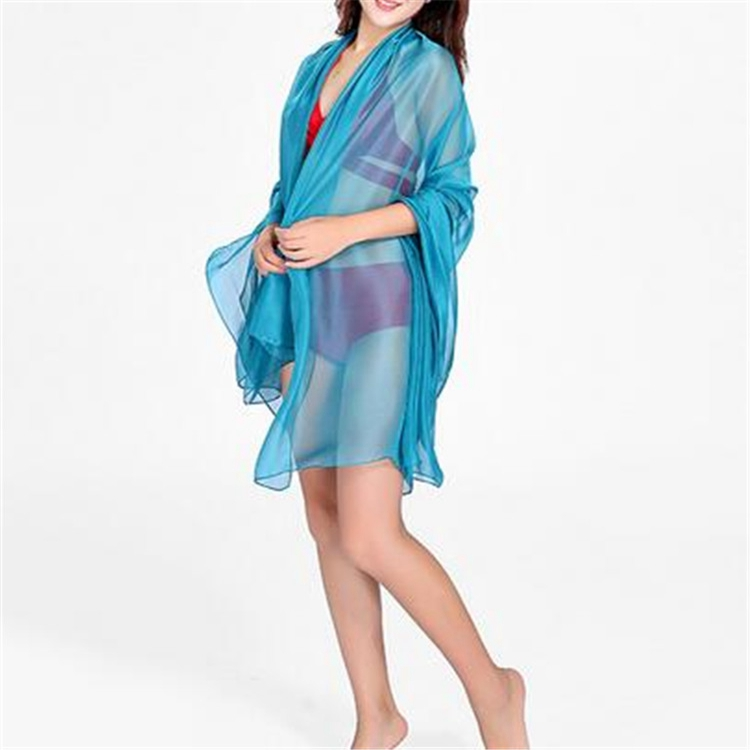 Summer Solid Color Pure Silk Scarves 100% Silk Plain Scarves Sun Protection Shawl Beach Towels