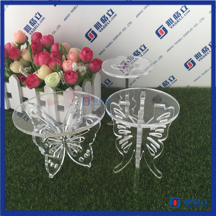 Customized design crystal clear acrylic wedding cake display stand / plastic acrylic mini cake stand