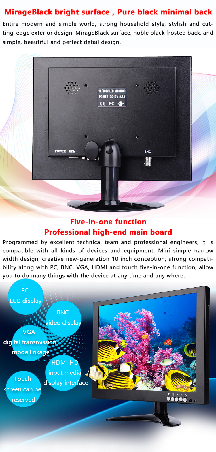 10 inch bnc cctv camera test security lcd monitor