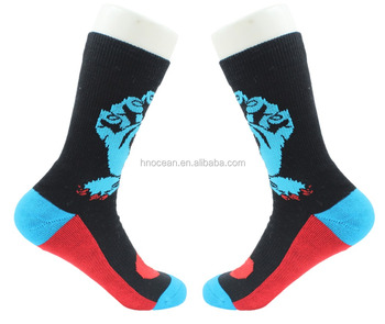 Logo Printing Cushion Mens Sport Custom Print Socks , Crew Socks
