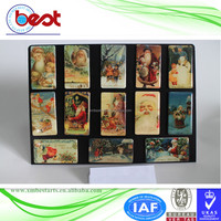 promotional souvenir 3D custom epoxy paper printing 4.5x8cm snowman and Chistmas tree fridge magnet